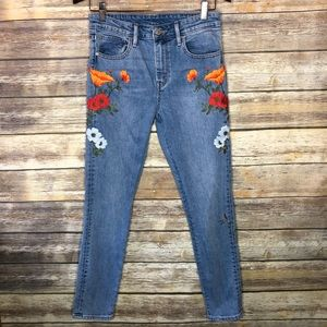 Levi's high waist ankle jeans embroidered floral